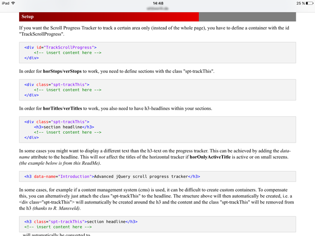 A screenshot showing how the plugin looks on a tablet.