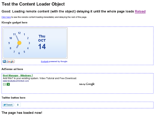 Screenshot of the example content loader page