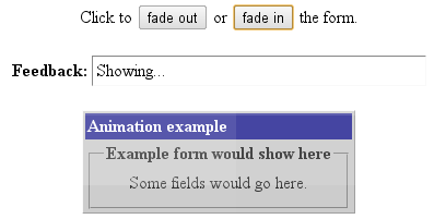 Example script of page element fade animation effect