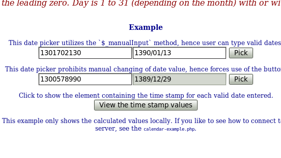 View of the calculated time stamps in the document