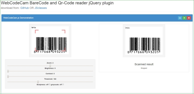 WebCodeCam: Barcode and qr code scanner jQuery plugin - JS